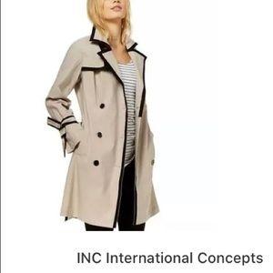INC Womens Tan Lightweight Cotton Trench Coat